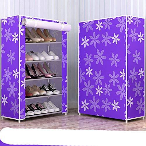 Simple Multi capas zapatero tela no tejida zapatos organizador rack sala re estilo moderno DIY zapato gabinete-púrpura flor 5L