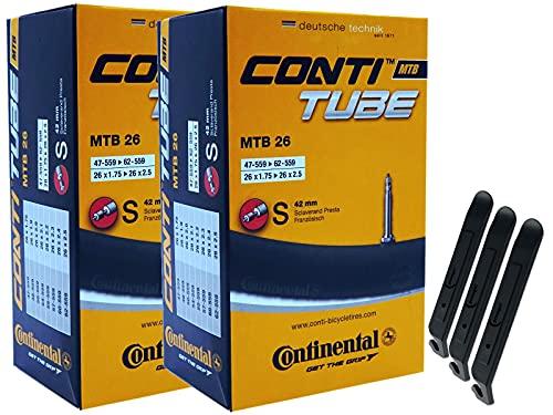 pneugo! Continental Sclaverand 47-559/62-559 - Juego de 2 cámaras de aire para bicicleta (26', incluye 3 desmontadores de neumáticos)