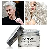 Temporary White Hair Color Wax, Efly MOFAJANG Instant Hairstyle Cream 4.23 oz Hair Pomades Hairstyle Wax for Men and Women (white)