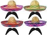 Sombrero de paja mexicano verde + bigote perfecto para cualquier fiesta de disfraces de México Somberros para hombres y mujeres
