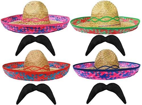 Sombrero de popote mexicano verde + bigote perfecto para cualquier fiesta de disfraces de México SOMBREROS para hombres y mujeres al por mayor – X24 SOMBRERO + X24 MOUSTASHE