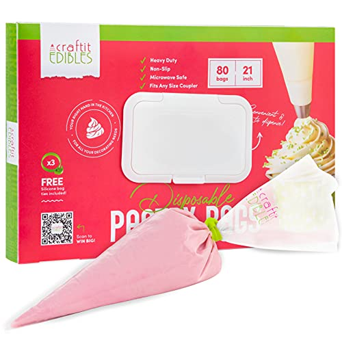 Disposable Piping Bags Large 21 Inch 80 Pcs Pastry Bags, in a hard-cover cake decorating dispenser. Incl. 2 icing frosting bag ties. Microwavable baking bag