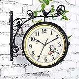 Reloj de pared de doble cara, reloj de exterior, rotación de 360º de hierro forjado, estilo antiguo, para interior y jardín, decoración colgante, color negro y blanco