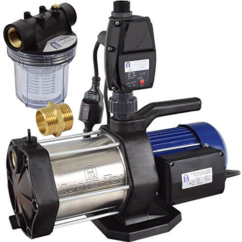 Agora-Tec® AT-Hauswasserwerk-5-1300-5DW-1L 5 stufige Kreiselpumpe mit max: 5,6 bar und max: 5400l/h inkl. Druckschalter mit Trockenlaufschutz und Vorfilter