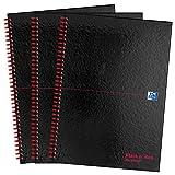 Oxford Black N' Red - Cuaderno (A4, tapa dura, reciclado, 140 páginas, 3 unidades), color negro