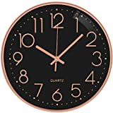 TOPPTIK Reloj de pared de 12 pulgadas moderno silencioso sin garrapatas, funciona con pilas, relojes de pared redondos para sala de estar, cocina, dormitorio, decoración (negro - oro rosa)