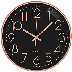 TOPPTIK Wall Clock -12 Inch Modern Digital Clock Silent Non Ticking Battery Operated Round Wall Clock Easy to Read Decorative for Living Room Home Kitchen Office School Classroom(Black- Rose Gold)