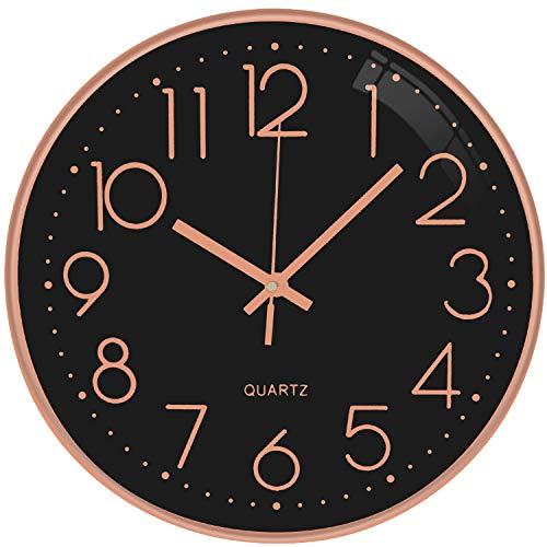 TOPPTIK Moderno Orologio da Parete Digitale 30 cm qualità orologio da parete a batteria senza ticchettio, rotondo decorativo...