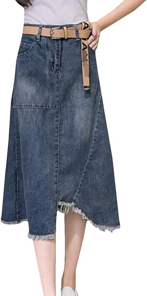 CMCYY Women's Cutoff Faded Vogue Denim a-line Belted Long Skirt