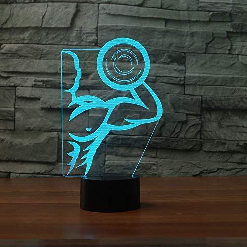Neu 3D starke Hantel Muskel Mann führte Tischlampe USB bunte Farbverlauf Acryl Nachtlicht Schlafzimmer Nachttisch Beleuchtung Dekor Weihnachtsgeschenke