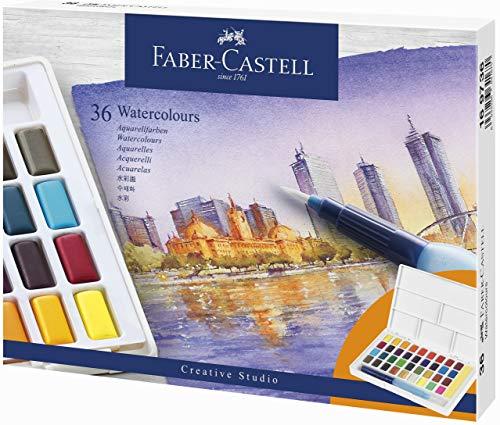 Faber-Castell 169736 Aquarellfarben, 36 Stück in Näpfchen, inklusive Wassertankpinsel