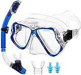 ASPORT Taucherbrille, Schnorchel Maske mit 180 ° Panoramaflug, Easy Breathing und professioneller...