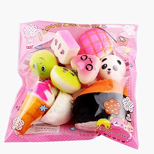 KFAWON Medium Mini Soft Bread Squeeze Toys Key Cute Squishy Pack Cute Toys Key Colgante Anti-stress Rising Squeeze Toys para niños-15pcs