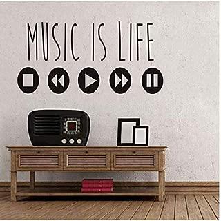 Music Is Life Wall Stickers Offer Creative Vinyl Art Stickers Ecualizador De Música Decoraciones Para El Hogar Accesorios 30X59Cm