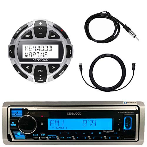 "Kenwood Marine Boat Yacht Digital Media USB AUX Bluetooth Stereo Receiver (No CD), Kenwood Digital LCD Display Wired Remote, 40"" Enrock AM/FM Antenna, 7 Meter - 22 Ft Extension Cable"