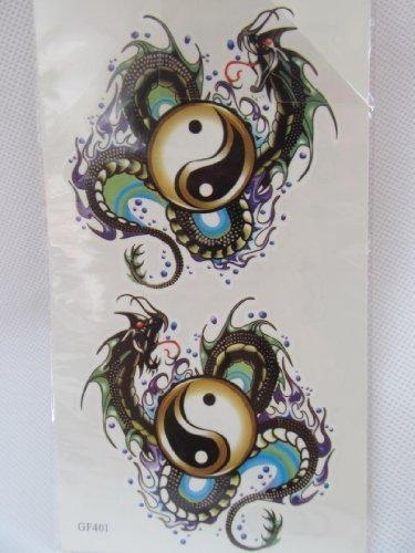 Männer Jungen Yin Yang Chinesischer Drache Schlange Abwaschbare Tattoos Geschrieben Von London Von Fett Catz