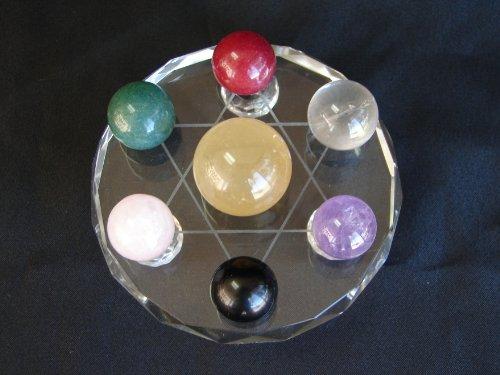 Feng Shui Import 7Piedras Bolas en Base de Cristal Estrella de David