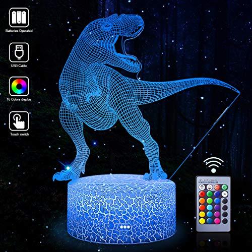 3D Dinosaurier Nachtlicht LED Optische Täuschung Lampen 16 Farben Touch Art Skulptur Lichter mit mit Fernbedienung Schlafzimmer Schreibtisch Tischdekoration Beleuchtung für Kinder Erwachsene Jungen