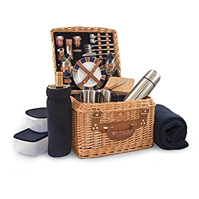 Picnic Time Canterbury English Style Picnic Basket with Deluxe Service for Two, Navy with Plaid