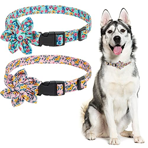 bingpet dog harness for cars BINGPET Floral Dog Collar for Medium and Large Dogs- Cute Dog Collar Girl with Detachable Flower Accessories, Adjustable 12.9
