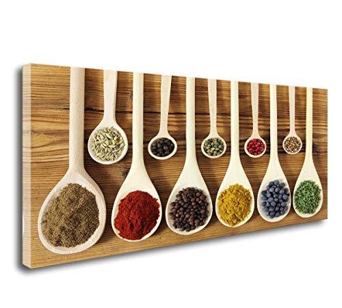 DZL Art K70250 Colorful Spices In Wooden Spoons beautiful kitchen Wall Art Painting Canvas Prints Ready to Hang for kitchen Wall Decor Home Decoration