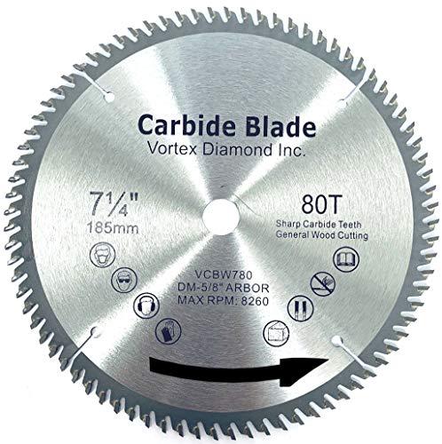 VORTEX DIAMOND VWB 7-1/4 Inch 80 Teeth TCT General Purpose Hard & Soft Wood Saw Blade (7-1/4 Inch 80 Teeth)