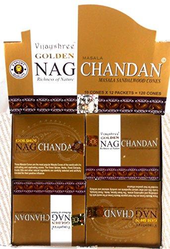Vijayshree Golden Nag Chandan - Coni di incenso, 12 x 10 Pezzi = 120