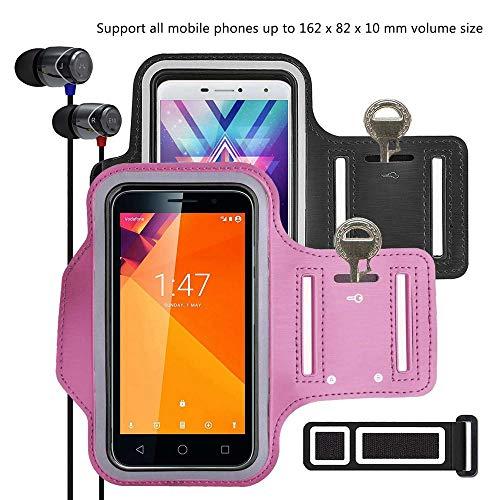 """pinlu® 2 Pack Fascia da Braccio per Nokia C2-01, Microsoft Lumia 532, Nokia 620, Nokia 130, 5.5"""" Sedile del Telefono Cellulare sweatproof, per corridori, allenamenti -(Nero+Rosa)"""