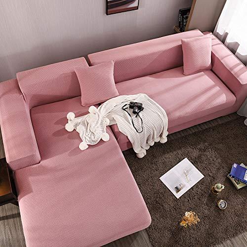 Fsogasilttlv Fundas para sofá y Muebles 3 plazas y 4 plazas, Funda de cojín de Asiento de sofá Grueso, Protector de Muebles, Funda de sofá de Esquina de Color sólido elástico 2 Piezas