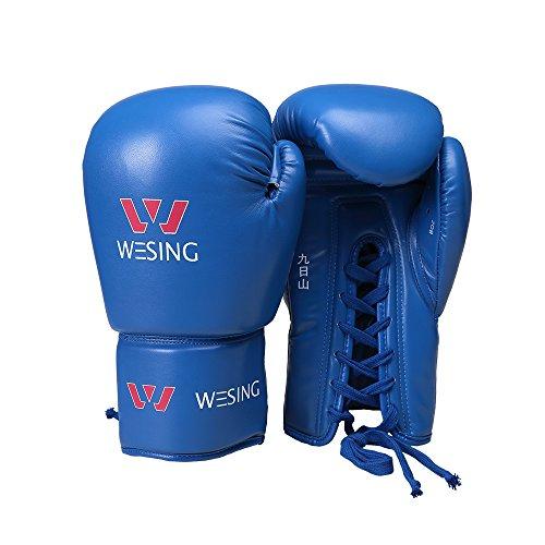 WESING Boxhandschuhe zum Schnüren, Boxen, Kampfsport, Boxhandschuhe - 226,8 g (8 oz) - blau