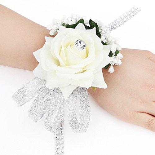 dressfan Party Braut Brautjungfer Rose Handgelenk Blume für Frauen Mädchen Band Blume Handgelenk Corsage Armband Armbänder für Hochzeit Prom Party