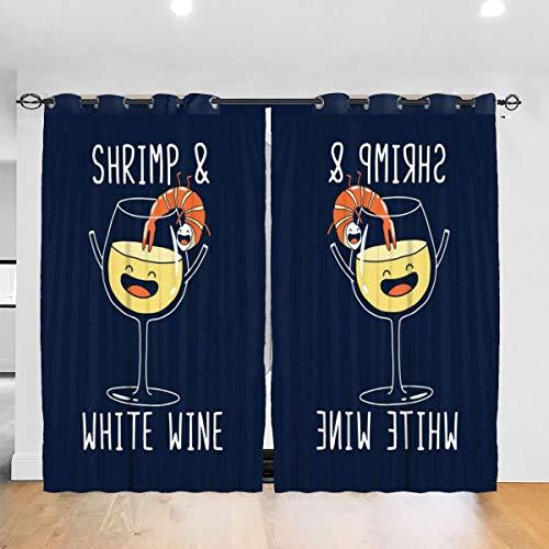 HONGYANW Verdunkelungsvorhänge Garnelen und Weißwein-Tülle, Thermisch isoliert, für Schlafzimmer, Wohnzimmer, 132 x 183 cm, 2 Paneele