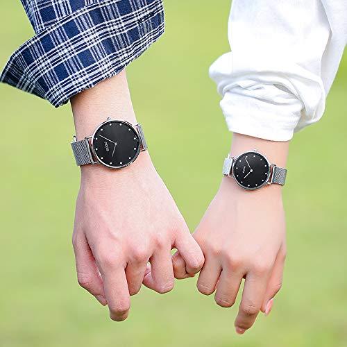 SJXIN kühle stilvolle Uhr, Mode Strass Paar Uhr Quarzuhr Netto Kettenuhr Mode Uhren (Color : Women-Black)