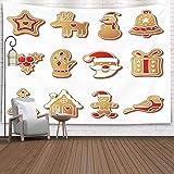 N\A Christmas Tapestry, Home Christmas Theme Tapiz para Colgar en la Pared Tapiz de nieveChristmas Cookies Set Icons Symbols Deesert Navidad Año Nuevo Invierno Interior Decoraciones para el hogar