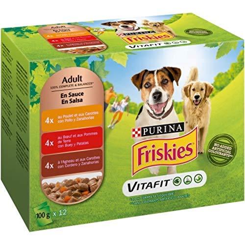 Nestlé Purina Friskies Comida húmeda para Perros Adulto con Pollo, Cordero y Buey en Salsa 12x100 g - Pack de 6 🔥