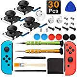 iiwey 4-Pack 3D Replacement Joystick Analog Thumb Stick for Nintendo Switch Joy-Con, Come with 2 Pack Metal Latch and Y1.5 Original Screwdrivers, Replacement for Switch Joycon Joystick to Fix Drift.