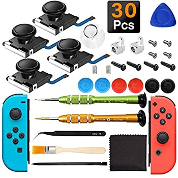 iiwey 4-Pack 3D Replacement Joystick Analog Thumb Stick for Nintendo Switch Joy-Con Come with 2 Pack Metal Latch and Y1.5 Original Screwdrivers Replacement for Switch Joycon Joystick to Fix Drift.