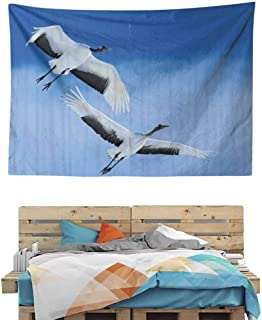 HuaWuChou Red Crowned Cranes Japan Primitive Tapestry, Wide Wall Hanging for Bedroom Living Room Dorm, 59W x 51.1L Inches