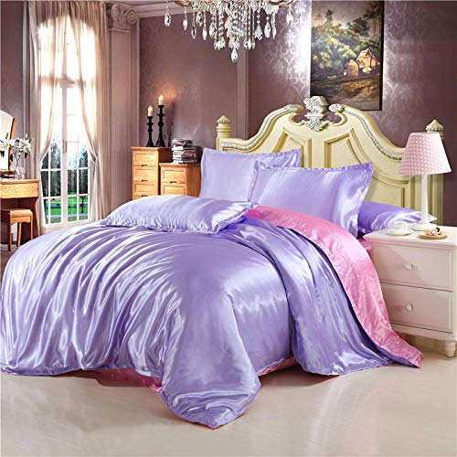 Bedding Set,Four-piece satin ice silk silk silk quilt cover sheet single double bed-Snow green pink_1.5 bed quilt cover 200 * 230