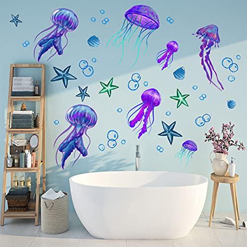 COKOYY Ocean Jellyfish Wall Decal, Under The Sea Purple Jellyfish Wall Stickers, Vivid Starfish Bubble Vinyl Decor, Removable DIY Art Wall Decors Mural for Kids Bedroom, Baby Nursery, Bathroom