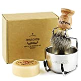 Anbbas Pure Badger Hair Shaving Brush Solid Wood Handle with Goat Milk Shaving Soap 100g,Stainless Steel Shaving Stand and 2 Layers Shaving Bowl Kit Perfect for Men Gift