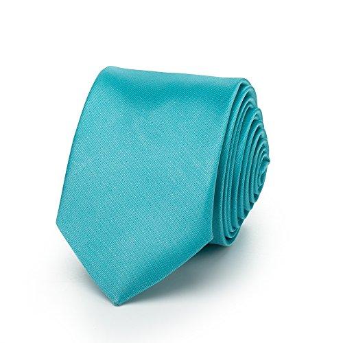 Rusty Bob - Krawatte schmal/dünn 3cm-5cm für Herren [auch für Kinder/Jungen] (uni,nicht gestreift) aus Polyester glänzt wie Seide - Coral/Koralle/Türkis
