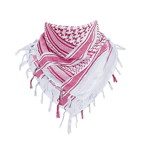 CRYSULLY 100% Cotton Military Shemagh Tactical Desert Keffiyeh Head Neck Scarf Red White