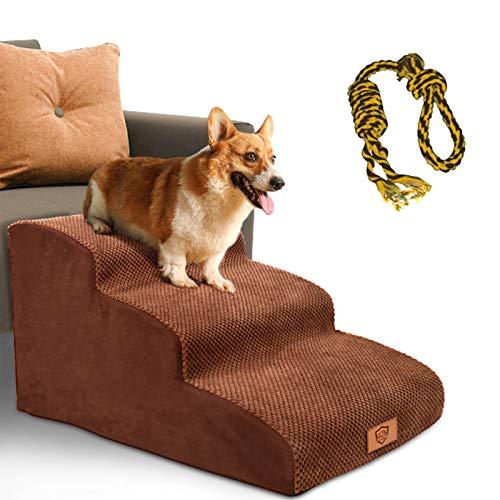 Masthome Hundetreppe 3 Stufen,rutschfeste Bettleiter Schwammleiter für Kleine Haustiere Katzen und Hunde,Senden Sie Haustierspielzeug