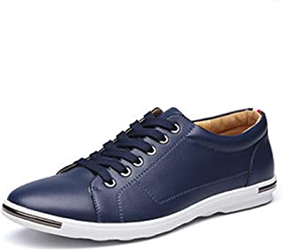 QinMei Zhou Athletic Shoes for Men Leisure Fashion Sneaker Casual Sport Lace Up Microfiber Leather Round Toe Flat Heel Breathable Wear Resistant Classic (Color : Blue, Size : 10.5 UK)
