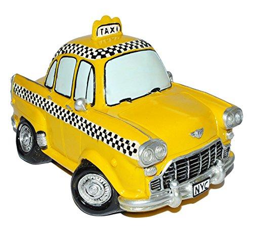 alles-meine.de GmbH XL Spardose Auto Taxi - stabile Sparbüchse aus Kunstharz - Fahrzeug Sparschwein lustig witzig New York NYC Yellow Cab - Reisekasse Urlaub Reisen
