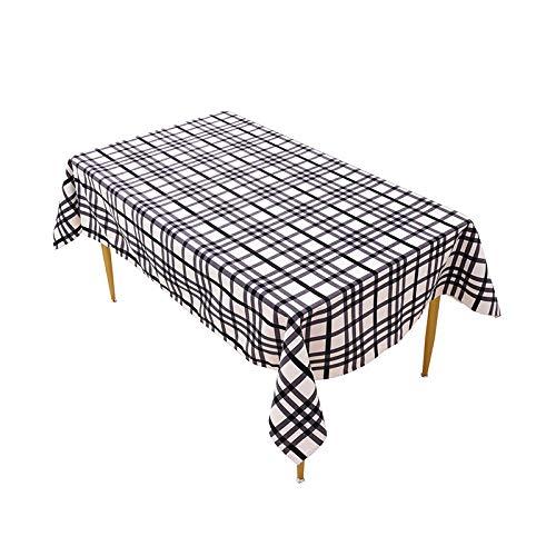 Nbrand Jinyuan Nappe De Table en Ligne RayéE à Carreaux Noirs Couverture De Table à Manger Rectangulaire Anti-PoussièRe Gril De Pique-Nique DéCor à La Maison Comptoir De CheminéE 85x85 cm