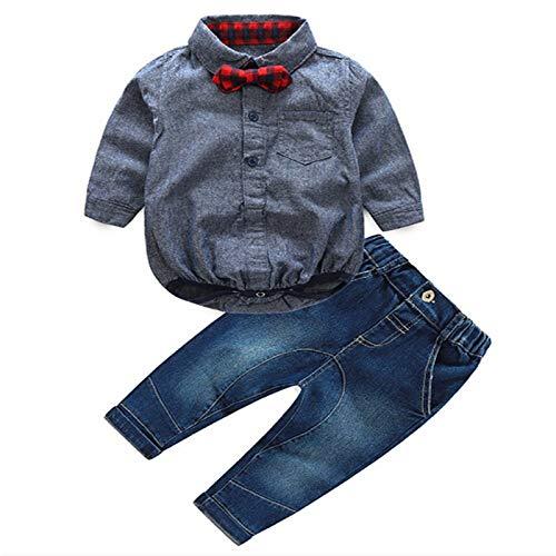 I3CKIZCE 2 sztuki odzieży dla niemowląt dla chłopców i chłopców, śpioszki z długim rękawem z koszulą z muszką + spodnie dżinsowe gentleman, garnitur dla małych dzieci w wieku 6-24 miesięcy