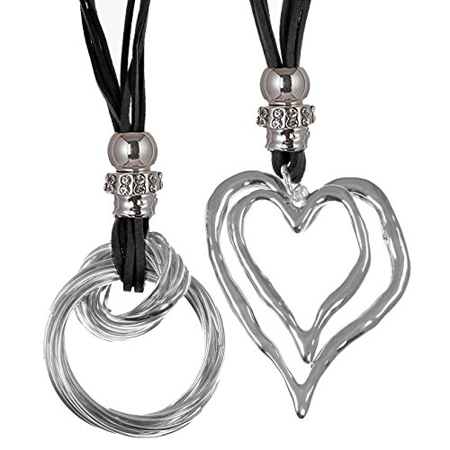 Unique Gifts On The Web Two Different Lagenlook Style Large Silver Heart & Twisted Pendant Fashion Jewellery Black Necklace Set