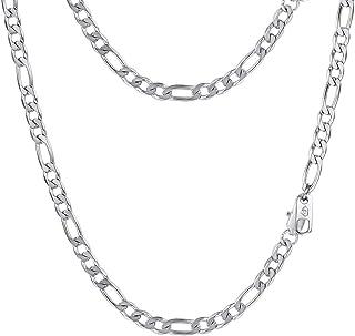 PROSTEEL Bijoux Collier Homme Personnalisé Chaîne Maille Figaro 1+3 Chain Necklace en Acier/Plaqué Or/Couleur Noir - Large...